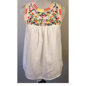 J. Crew Factory White Floral Tank Top in size 0